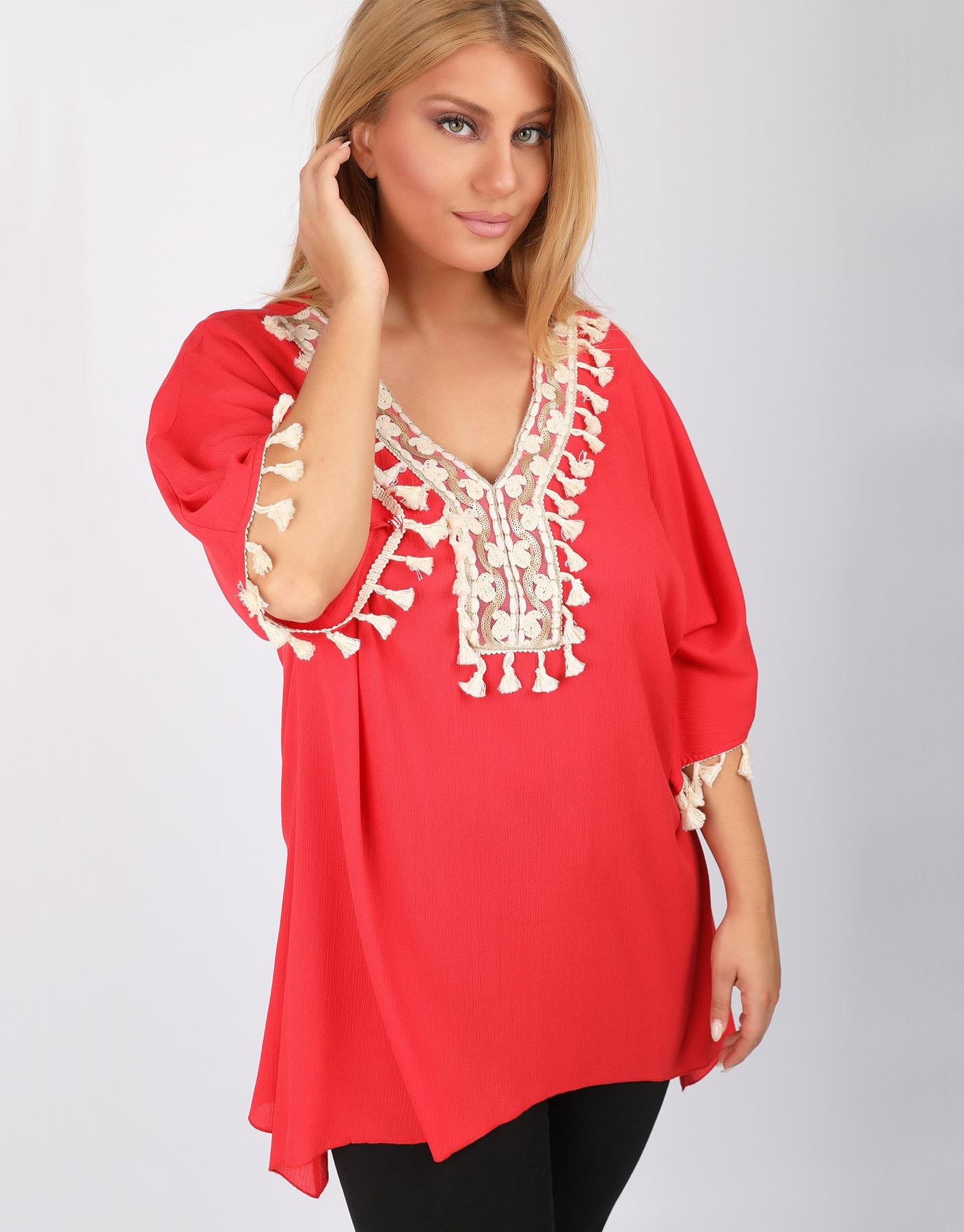 Ethnic μπλούζα με φουντάκια